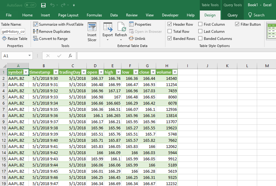 Historical Prices in Excel