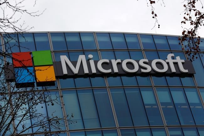 The logo of Microsoft is displayed outside the headquarters in Paris on Jan. 8, 2021. There's a new language option on Microsoft's translation software, one spoken primarily by the largest territory in Canada. Inuktitut, which is the dialect spoken by over 40,000 people across Nunavut and Northern Canada, is now one of 70 language options on Microsoft's translator. THE CANADIAN PRESS/AP, Thibault Camus