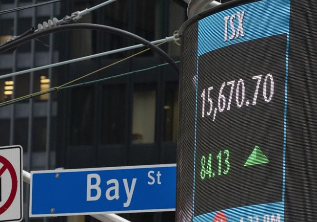 A sign board in Toronto shows the closing number for the TSX on Thursday October 29, 2020. THE CANADIAN PRESS/Frank Gunn