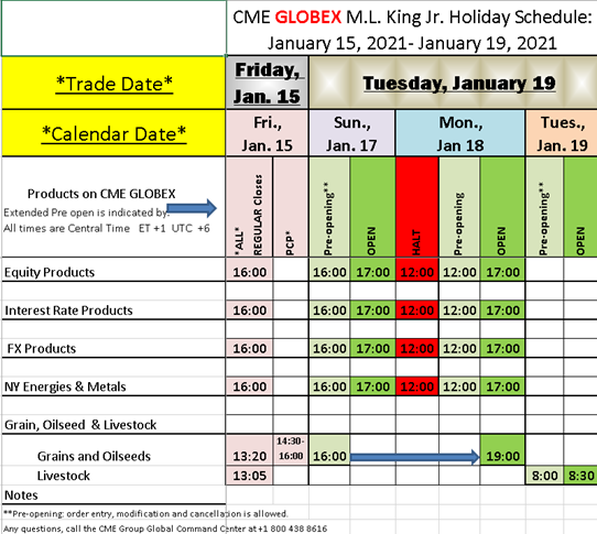CME GLOBEX ML King Jr Holiday Schedule 2021
