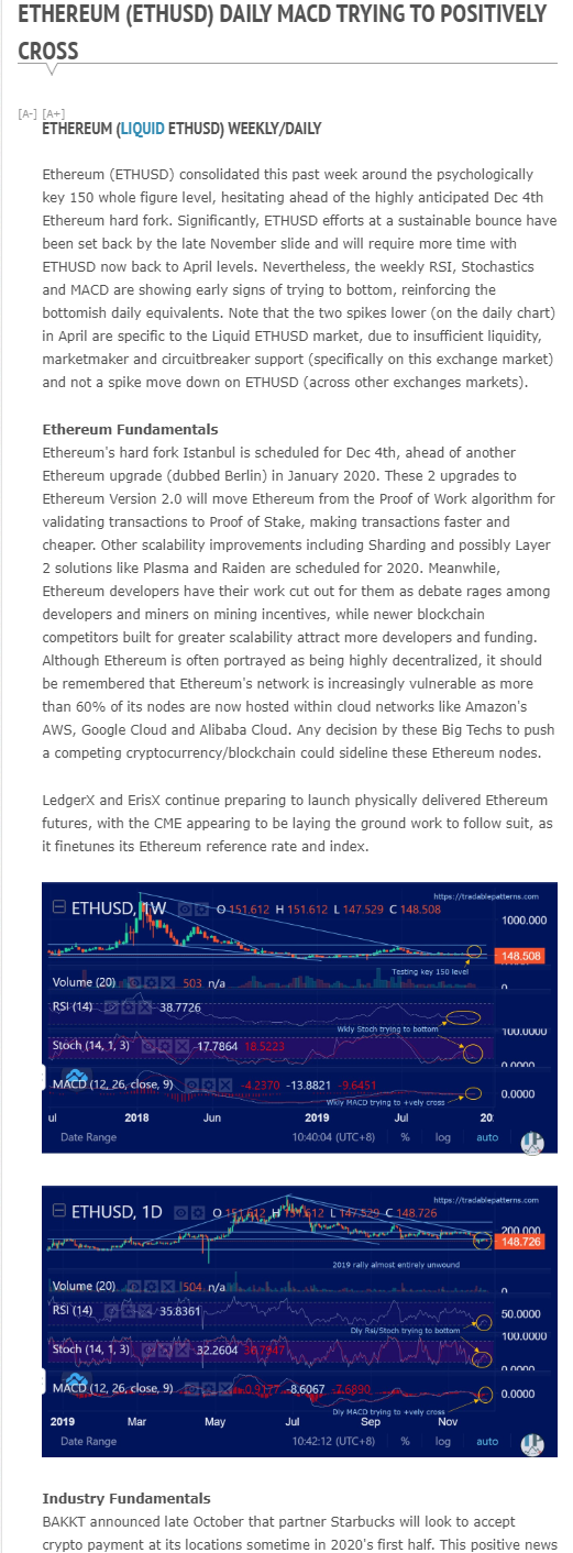 Crypto Weekly Outlook (sample from Dec 1, 2019)