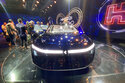 One of the electric cars unveiled by Foxconn is seen during a press event held in Taipei, Taiwan Monday, Oct. 18, 2021. The Taiwanese company that manufactures smartphones for Apple Inc. and other global brands announced Monday plans to produce electric cars for auto brands under a similar contract model. (AP Photo/Wu Taijing)