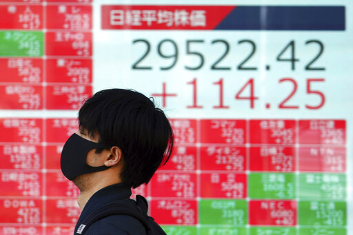 A man wearing a protective mask walks past an electronic stock board showing Japan's Nikkei 225 index at a securities firm Wednesday, March 3, 2021, in Tokyo. Stocks advanced in Asia on Wednesday after a wobbly day on Wall Street, when the S&P 500 gave back most of its gains from a day earlier. (AP Photo/Eugene Hoshiko)