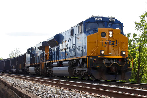 FILE - A CSX freight train pulls through McKeesport, Pa., on Tuesday, June 2, 2020. CSX railroad reported relatively flat fourth-quarter earnings even though it hauled 4% more freight as the economy continued to rebound from last year's widespread virus-related shutdowns. The Jacksonville, Florida-based railroad said Thursday, Jan. 21, 2021 it earned $760 million, or 99 cents per share, during the quarter. (AP Photo/Gene J. Puskar)