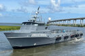 This image provided by the Offshore Marine Service Association shows the patrol vessel, the Jones Act Enforcer in Leeville, La., on July 15, 2021. The Offshore Marine Service Association has launched the ship to gather photos and videos of ships it considers to be violating a 1920 law requiring U.S. vessels to carry cargo between U.S. locations. It will provide such evidence to enforcement agencies and to trade publications, said Aaron Smith, president and CEO of the association. (Eli Autin/Offshore Marine Service Association via AP)
