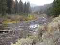 Water flows have slowed to a trickle on the Truckee River flowing out of Lake Tahoe from Tahoe City, Calif.  a few miles upstream from Truckee, Calif. Wednesday, Oct. 20, 2021. Drought fueled by climate change has dropped Lake Tahoe below its natural rim and halted flows into the Truckee River, an historically cyclical event that's occurring sooner and more often than it used to _ raising fears about what might be in store for the famed alpine lake. (AP Photo/Scott Sonner).
