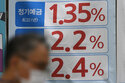 A man walks near an advertisement showing bank's interest rates in downtown Seoul, South Korea, Friday, Sept. 17, 2021. Asian shares were mixed on Friday after a hodge-podge of economic data led Wall Street to close mostly lower. (AP Photo/Lee Jin-man)