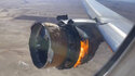 "In this image taken from video, the engine of United Airlines Flight 328 is on fire after after experiencing ""a right-engine failure"" shortly after takeoff from Denver International Airport, Saturday, Feb. 20, 2021, in Denver, Colo. The Boeing 777 landed safely and none of the passengers or crew onboard were hurt. (Chad Schnell via AP)"