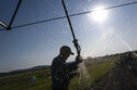 """Matt Lisignoli shuts off an irrigation sprinkler at his farm, Smith Rock Ranch, in the Central Oregon Irrigation District on Tuesday, Aug. 31, 2021, in Terrebonne, Ore. The stark contrast between the water haves and have-nots two hours southeast of Portland has brought new urgency to efforts to share the resource. Proposals to create """"water banks"""" or """"water markets"""" would allow farmers with excess water to """"lease"""" it to those in need. (AP Photo/Nathan Howard)"""