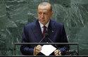 Turkish President Recep Tayyip Erdogan addresses the 76th Session of the United Nations General Assembly, Tuesday, Sept. 21, 2021 at U.N. headquarters. (Eduardo Munoz/Pool Photo via AP)