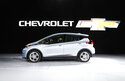 FILE - In this Jan. 9, 2017 file photo the Chevrolet Bolt is on display at the North American International Auto Show in Detroit.  General Motors is recalling some older Chevrolet Bolts, Friday, July 23, 2021, for a second time to fix persistent battery problems that can set the electric cars ablaze.  The recall covers about 69,000 Bolts worldwide from 2017, 2018 and part of the 2019 model year. GM says it's still working on repairs but it's likely battery parts will be replaced.(AP Photo/Paul Sancya, File)