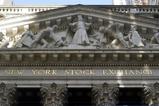 FILE - This June 16, 2021 file photo shows the facade of the New York Stock Exchange.  Stocks are off to a mixed start on Wall Street, Tuesday, Aug. 3,  as traders weigh another big set of company earnings reports, which have been coming in largely ahead of analysts' forecasts.   (AP Photo/Richard Drew, File)