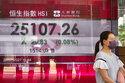 A woman walks past a bank's electronic board showing the Hong Kong share index at Hong Kong Stock Exchange Wednesday, July 28, 2021. Asian stock markets declined Wednesday after Wall Street pulled back from a record as investors awaited a Federal Reserve report for signs of when U.S. stimulus might be withdrawn. (AP Photo/Vincent Yu)